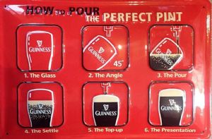 Guinness How To Pour The Perfect Pint embossed steel sign 300mm x 200mm (hi)